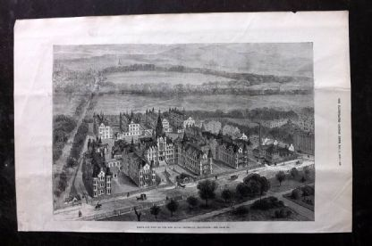 ILN 1880 Antique Print. View of The New Royal Infirmary, Edinburgh, Scotland